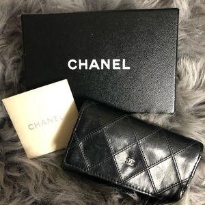 Chanel Quilted Bicolore Lambskin Leather key case